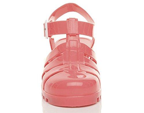 Ajvani Women Pink Size 90s Mid Block Retro Sandals Coral Heel ggBvq4xwr