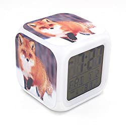 Boyan New Red Fox Animal Snow Led Alarm Clock Creative Desk Table Clock Multipurpose Calendar Snooze Glowing Led Digital Alarm Clock for Unisex Adults Kids Toy Gift