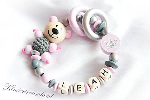 Baby Greifling / Rassel mit Namen, Teddy, Krone, Bär, Mädchen, rosa, silber, Wunschnamen