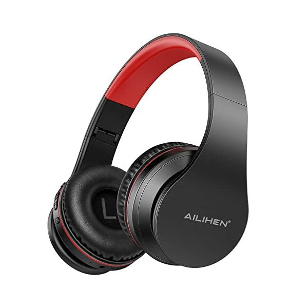 AILIHEN A80 Bluetooth Wireless Headphones Over Ear with Mic Hi-Fi Stereo Wired Foldable Headsets, Soft Earpads, Support with TF Card/MP3 Mode, 25H Playtime for Travel TV PC Cellphone