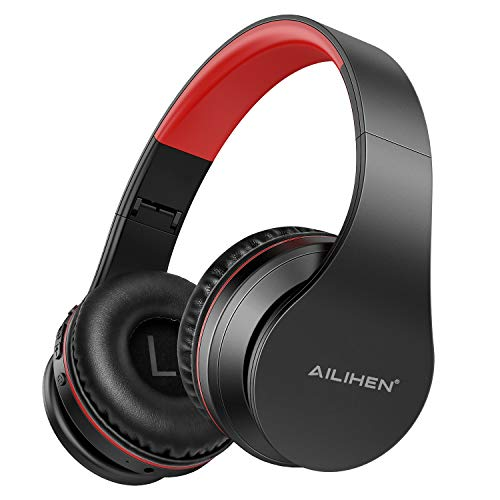 AILIHEN A80 Bluetooth Wireless Headphones On Ear with Mic Hi-Fi Stereo Wired Foldable V5.0 Headsets, Soft Earpads, Support with TF Card/MP3 Mode, 25H Playtime for Travel TV PC Cellphone (Grey Red)