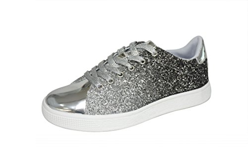Lucky Step Glitter Sneakers Lace up | Fashion Sneakers | Sparkly Shoes for Women (11 B(M) US,Silver)