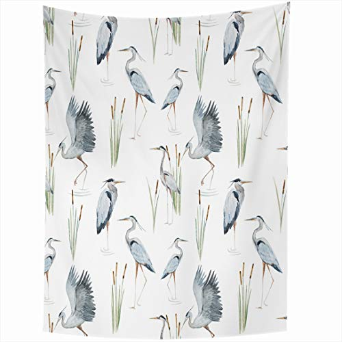 Ahawoso Tapestry 60x90 Inch Blue Bird Watercolor Pattern Reeds Herons Crane Water Painting Plant Abstract Heron Wall Hanging Home Decor for Living Room Bedroom - Heron Wall Hanging