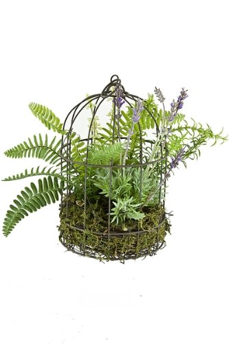12-Inch Renaissance 2000 Lavender Fern in Bird Cage, Small