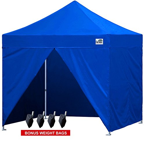 Eurmax 10×10 Pop up 4 Wall Canopy, Party Tent Instant Outdoor Canopy Gazebo with 4 Zipper End Sidewalls Walls and Carry Bag(Blue)