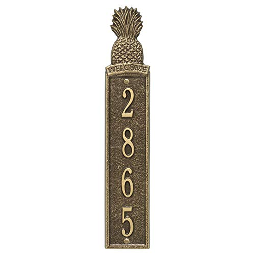 Personalized Pineapple Vertical Wall Welcome Plaque (Antique Brass)