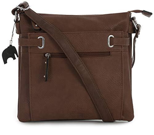 Design Dark Protective Tan Charm Pocket Bag and Multi Bag Storage Body Messenger Branded with 2 Cross Shoulder Mabel zF6qaUwRR