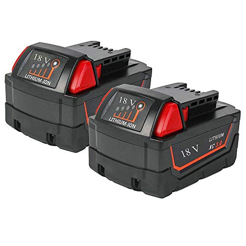 18V 3.0Ah Replacement Li-ion Battery for Milwaukee m 18 48-11-1815 48-11-1828 48-11-1830 48-11-1890 Cordless Power Tools (2 Packs)