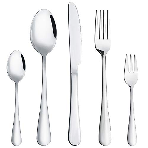 60-Piece Food Grade Stainless Steel Flatware Set, Hippih Decor Anti-Scald Dinnerware Sets for 12 Include Knife/Fork/Spoon