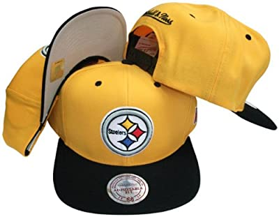 Pittsburgh Steelers Gold/Black Two Tone Snapback Adjustable Plastic Snap Back Hat / Cap