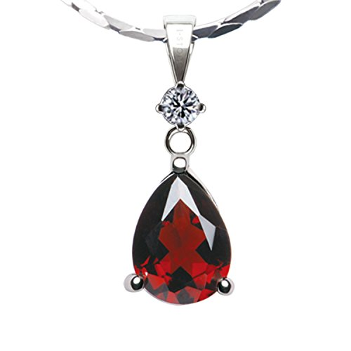 Garnet Pendant Stone - iSTONE Natural Red Garnet Birthstone Pendant Necklace 925 Sterling Silver 18