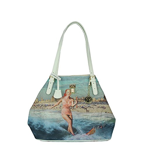 "Y Not - Shopping bag con tracolle regolabili Y Not, ""Summerland California"" - Bianco - D388.SUMMERLAND.CALIFORNIA - Bia - UNICA"