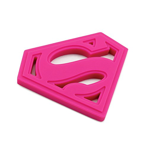 Bumkins DC Comics Superman Silicone Teether, Textured, Soft, Flexible, Bacteria Resistant - Pink
