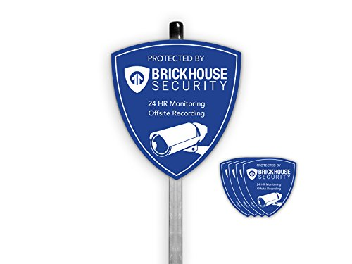 Brickhouse Security Home Surveillance Security Camera Outdoor Yard Sign w/Stake and Window Decals