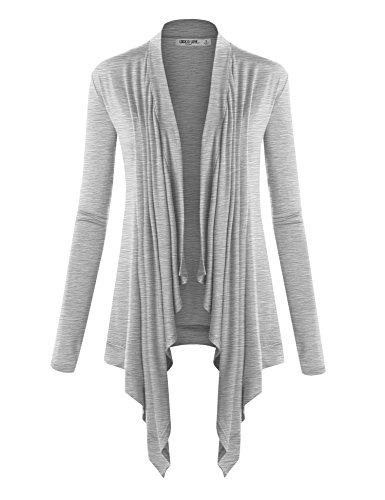Grey Cardigan Cotton - WSK849 Womens Off-Duty Open Front Cardigan L Heather_Grey