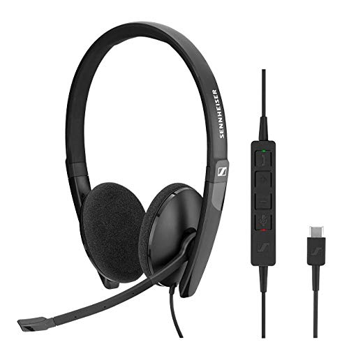 Sennheiser SC 160 USB-C (508354) - Double- Sided (Binaural) Headset for Business Professionals | with HD Stereo Sound, Noise-Canceling Microphone, USB-C Connector (Black)