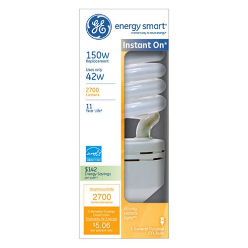 GE Lighting 97728 Energy Smart Spiral CFL 42-Watt (150-watt replacement) 2700-Lumen Spiral Light Bulb with Medium Base, 1-Pack (Energy Smart Spiral)