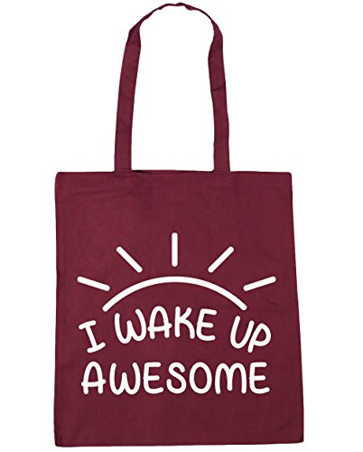 HippoWarehouse I Wake Up Awesome Tote Compras Bolsa de playa 42cm x38cm, 10litros granate