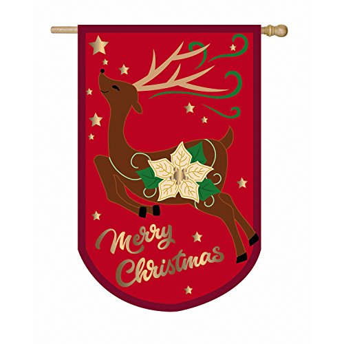 Evergreen Christmas Reindeer Outdoor Safe Double-Sided Applique House Flag, 28 x 44 inches For Sale
