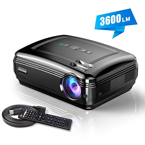 Video Projectors, SOLOVE HDMI Projector Full HD 1080P Home Theater Projector for Movie and PowerPoint Presentation for Laptop PC TV iPhone -
