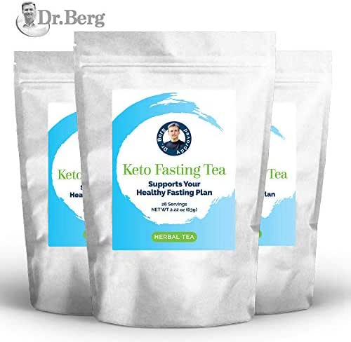 Dr. Berg's Keto Fasting Tea (Unsweetened) Caffeine-Free - an Appetite Suppressant Green Herbal Tea Drink to Help Reduce Hunger for Weight Loss - Dietary Supplement (3 Pack)