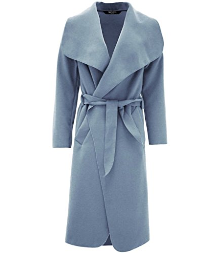 Womens Ladies italiano Plain Full manga larga abierta Drape Ruched frente cuello Wrap Over Belted cascada celebridad inspirado abrigo largo de plumero talla única 8 10 12 14 Sky-Blue
