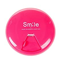 [Rose Red] Round Pill Box Pill Cases Pill Container Pill Holder