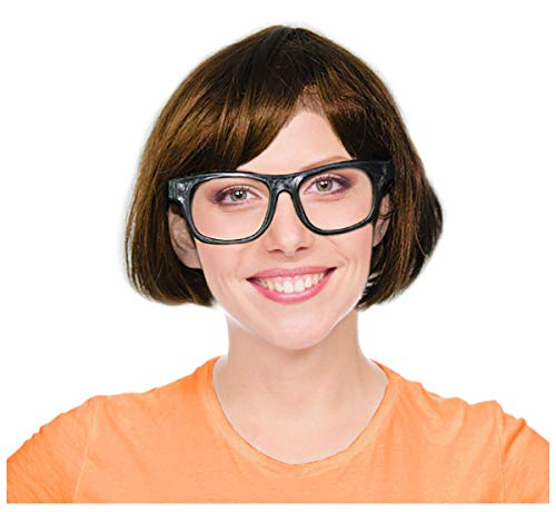 Brown Character Wig and Glasses Velma Costume