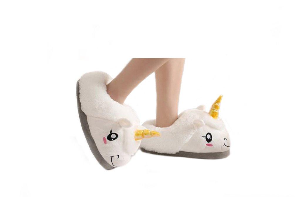 KayMayn Unicorn Pantofole per Adulti 29 cm Europeo, Misure 36 – 42, Unicorno di Peluche Pantofole Morbido Indoor Pantofole Calde Interessante Scarpe Inverno Caldo Pantofola White 2
