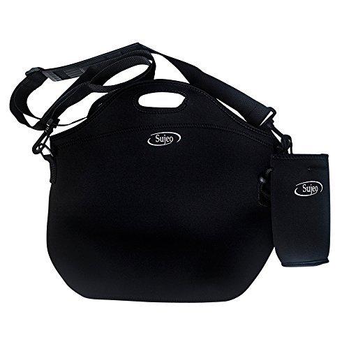 Sujeo Neopren Kühltasche (Schwarz) - Unsere Thermotasche hält die Temperatur perfekt - Tolle Lunchtasche für die Arbeit, Reisen oder Picknicks