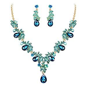 BriLove Women's Wedding Bridal Crystal Teardrop Filigree Leaf Twig Enamel Statement Necklace Dangle Earrings Set