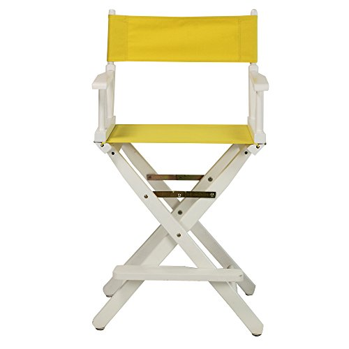 Casual-Home-24-Inch-Director-Chair-White-Frame-Yellow-Canvas
