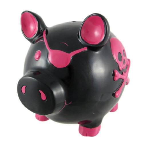 Large Black / Hot Pink Skull & Crossbones Pig Piggy Bank Pirate