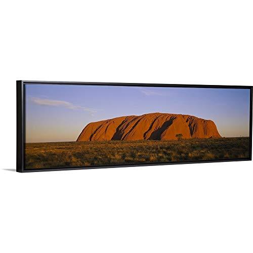 Floating Frame Premium Canvas with Black Frame Wall Art Print Entitled Rock Formations on a Landscape, Ayers Rock, Uluru-Kata Tjuta National Park, Northern Territory, Australia 60