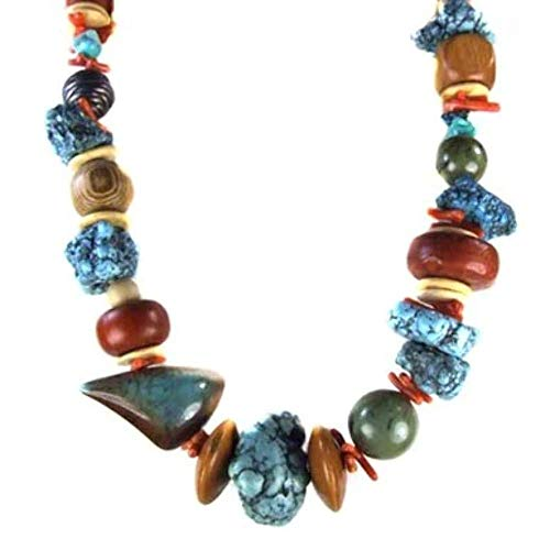 (Vintage Les Bernard Chunky Coral Turquoise Bead Necklace)