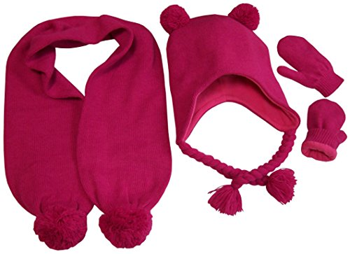 N'Ice Caps Little Girls Fleece Lined Knitted 3PC Set with Poms (2-4 Years, Fuchsia)