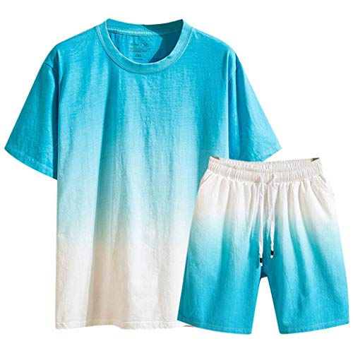 NIUQI Men's Summer New Cotton Linen Shortsleeved Short Pant Fashion Gradual Color Suit Light Blue