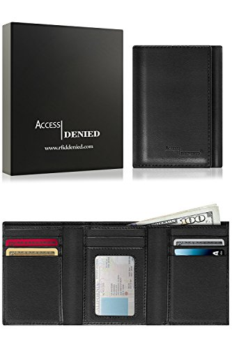 Genuine Leather Wallets For Men - Trifold Mens Wallet With ID Window RFID Blocking,Smooth (Tri Fold Black Mens Wallets)