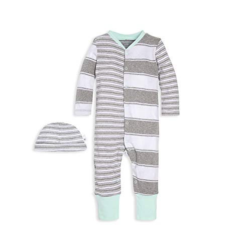 Burt's Bees Baby Baby Boys Romper Jumpsuit, 100% Organic Cotton One-Piece Coverall, Peace Green/Hat Set, 3-6 Months
