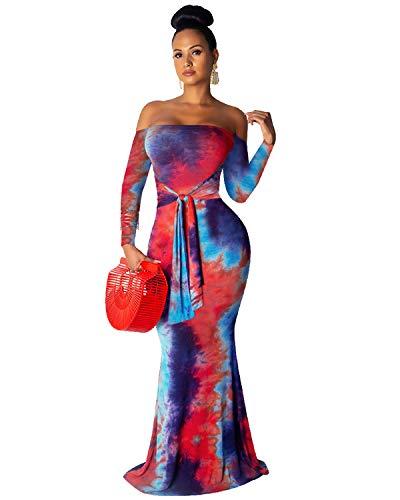 BIUBIU Bodycon Maxi Dresses for Women, Off Shoulder Long Sleeve Knot Tie Dye Long Dresses for Party Wedding Red S (Off The Shoulder Long Sleeve Mermaid Wedding Dress)