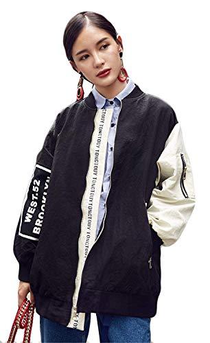 Longues D'extérieur Blouson Elégante Oversize Manteau Vêtements Imprimé Outerwear Chic Femme Printemps Coat Automne Splicing Schwarz Fermeture Manches Éclair Lettre Boyfriend Mode Battercake RqxS6w5F5