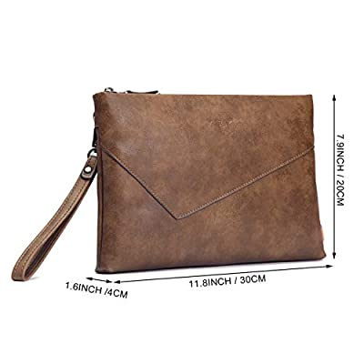 Men's Clutch Bag, FIXM PU Leather Handbag Zipper Long Wallet Checkbook Card Purse Business Organizer, Large Capacity & Flexible & Durable (Brown)