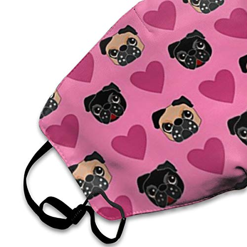 NOT Dog Pug Love PM2.5 Mask, Adjustable Warm Face Mask Unique Cover Filters Blocking Pollen Pollution Germs,Can Be Washed Reusable Pollen Masks Cotton Mouth Mask for Men Women