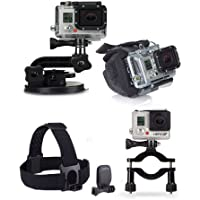 Gopro Suction Cup, Headstrap + Quickclip, Wrist Housing, Camera Roll Bar Mount, Gopro Accessories Bundle