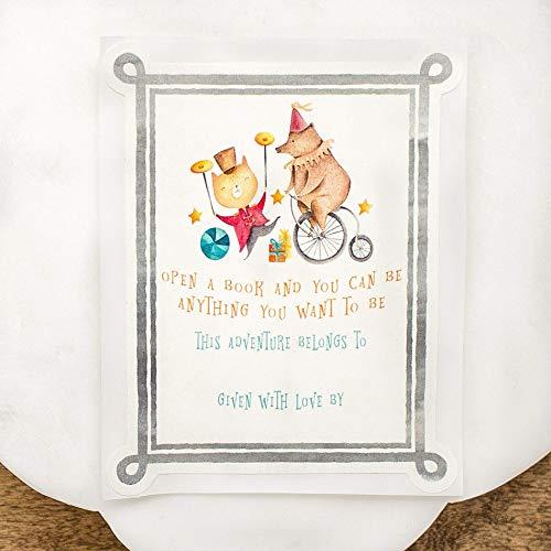 Circus Cat & Bear Baby Shower Bookplates Set of 20