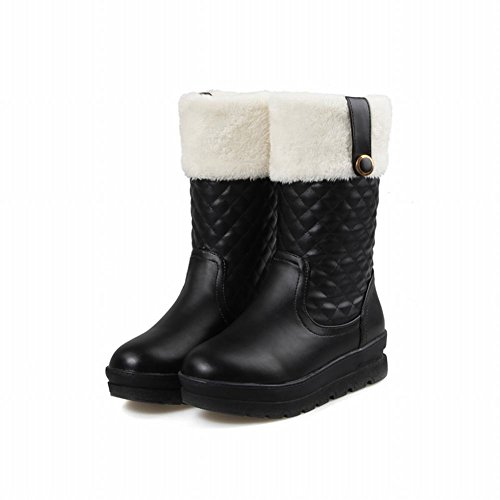 Carolbar Womens Faux Fur Fashion Warm Warm Weather Comfort Casual Snow Boots Nero
