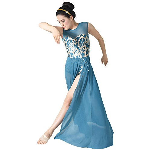 [MiDee Floral Sequin Tank Leotard Maxi Skirt Lyrical Dress Dance Costume (MA, Turquoise)] (Dance Costumes For Adults)