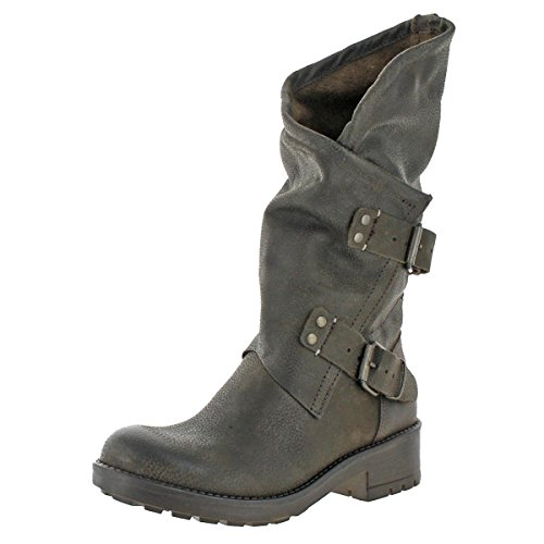 Coolway Women's Alida Leather Pull On Buckle Strap Moto Boots Brown Size 8 by Coolway