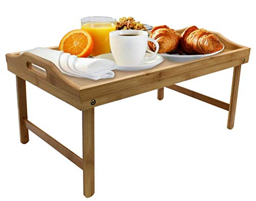 Folding Bed Tray Table With Legs And Breakfast Serving Tray Bamboo Bed Table And Bed Trey With Legs Dinner Butler Tray Lad Desk