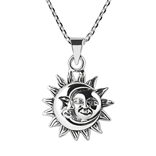 AeraVida Glinting Celestial Sun and Moon .925 Sterling Silver Necklace ()